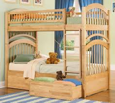 Double Deck Bed Designs With Drawer Bedroom Gorgeous Bedroom Decoration With Light Brown Wooden Bunk