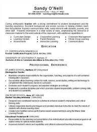 Student Teaching Resume Samples by Teacher Resume Example Education Sample Resumes Livecareer