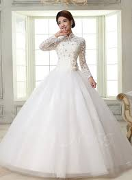 55 Long Sleeve Wedding Dresses by Ball Gown High Neck Long Sleeves Lace Wedding Dress Tbdress Com