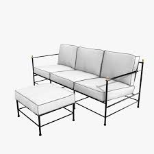 Sofa Kings by One Kings Lane Outdoor Frances Sofa And Ottoman White Black 3d