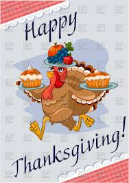 happy thanksgiving turkey with food royalty free vector clip