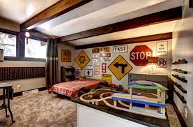 Car Room Decor Bedroom Cool Boys Room Decor Ideas With Road Signs And Car Shelf