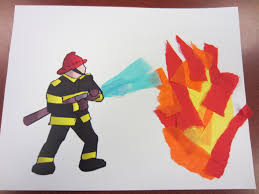 a pre printed firefighter picture and torn tissue paper made a