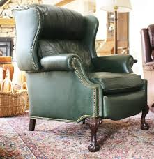 hancock u0026 moore green leather wing back recliner ebth