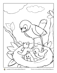 coloring pages worksheets birds in a nest coloring page worksheet village