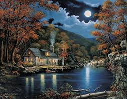 moonlight night cabin painting