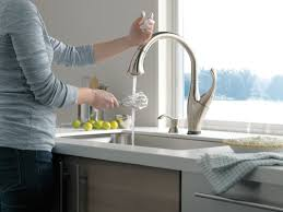 Sensate Touchless Kitchen Faucet by Delta Addison Touchless Single Handle Standard Kitchen Faucet With
