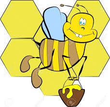 color page bee with honey cartoon paint royalty free cliparts