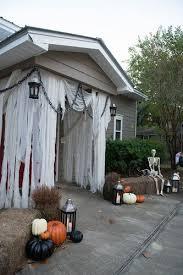 front door halloween using unbleached cheese cloth halloween