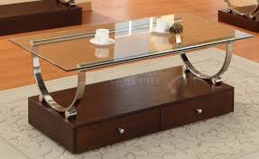 glass top modern coffee table w wood box base u0026 drawers