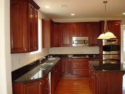 Cherry Wood Kitchen Cabinets Simple Kitchen Design With Black Granite Kitchen Countertops L