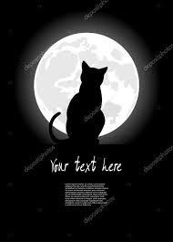 black cat sitting opposite to the moon in of the