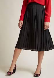 pleated skirt pleated chiffon midi skirt in black modcloth