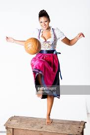 sports commentator steffi brungs wears a traditional bavarian