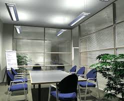 stunning small office meeting room design with hanging led lamp lighting fixtures with rectangle table and brown office chairs plus glass window with blinds