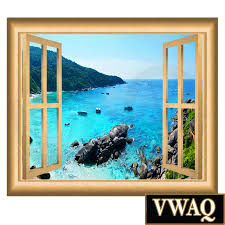 mountain cliff ocean view window frame wall decal mural vwaq nw1