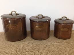 coffee kitchen canisters vtg mid century retro copper brass set of 3 flour sugar coffee