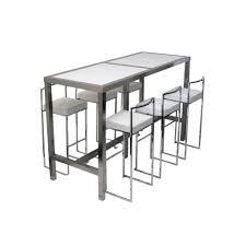 High Bar Table High Bar Table 6 Stools White Set