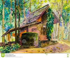 Painting Of House by Watercolor Landscape Original Painting Colorful Of House In Forest