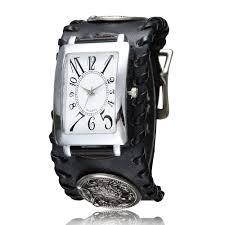black leather fashion punk rock gothic wolf band quartz wrist