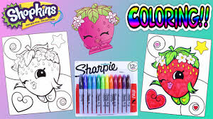 shopkins crayola coloring pages strawberry kiss awesome toys tv