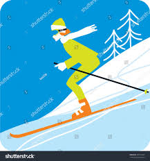 skiing woman mountains winter sports stock vector 389210443