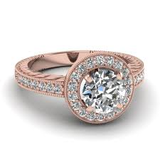 pave set rings images Rose gold round white diamond engagement wedding ring in pave set jpg