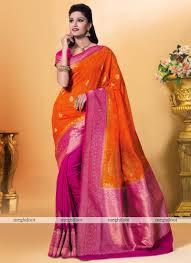rani pink colour orange and pink colour kanchipuram spun silk woven saree