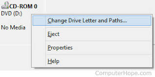 change the drive letter of a cd rom dvd or disc drive