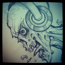 rough pencil sketch of a zombie wearing headphones zombie