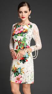 print dress white contrast lace sleeve floral print dress abaday