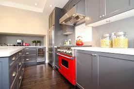 Red Kitchen Set - interior design kitchen gray tones combined colors ideas