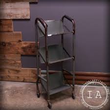 vintage 3 tiered bookcase rolling shelf wheeled library cart