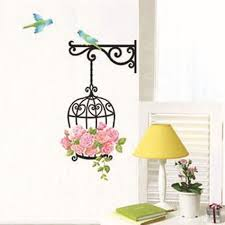 Birdcage Home Decor Birdcage Flower Wall Stickers Birdhouse Decals Removable Art Wall