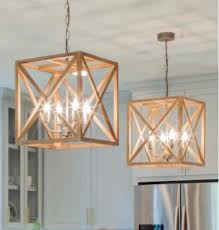 this square wood and metal chandelier will add a contemporary