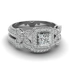 butterfly wedding rings images Princess cut halo diamond wedding ring set in 14k white gold jpg