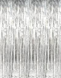 Silver Foil Curtains Metallic Silver Foil Fringe Curtain Home Kitchen
