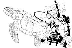 green sea turtle and scuba diver coloring page free printable