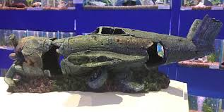 large fighter plane wreck ruin fish tank aquarium ornament