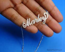 3d Nameplate Necklace 3d Nameplate Necklace Name Jewelry Diamond Accent 14 Gold