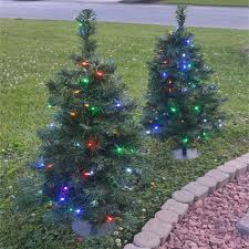 2 ft pathway tree with 50 multi colored led lights 2 pack