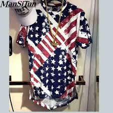 Super Homem Tun si EUA Bandeira Americana t shirt Homens Marca Camisa  @UY71