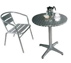 cafe table and chairs table 4 x chairs cafe bistro style aluminium and stainless