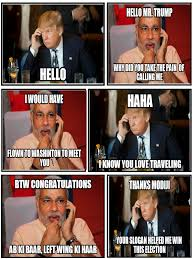 Meme Conversation - exclusive leaked telephonic conversation between modi and trump