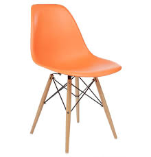 Set Of 4 Eames Dsw Replica Eiffel Dining Chair Orange