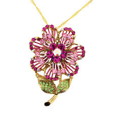 swarovski crystal flower necklace images Pink swarovski crystal flower pin brooch and pendant fantasyard jpg