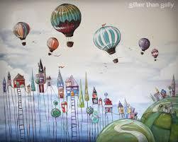 murals sillier than sally fine art and design sillier than sally cute and quirky village and hot air balloon nursery wall mural