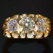 mens old rings images Yellow gold victorian three old mine cut diamonds mens ring jpg