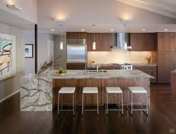 Kitchen Laminate Floor Decor Waterfall Countertop Inspiration With Recessed Lighting And