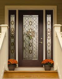 Patio Entry Doors Great Design Beveled Glass Home Entry Door Featuring Brown